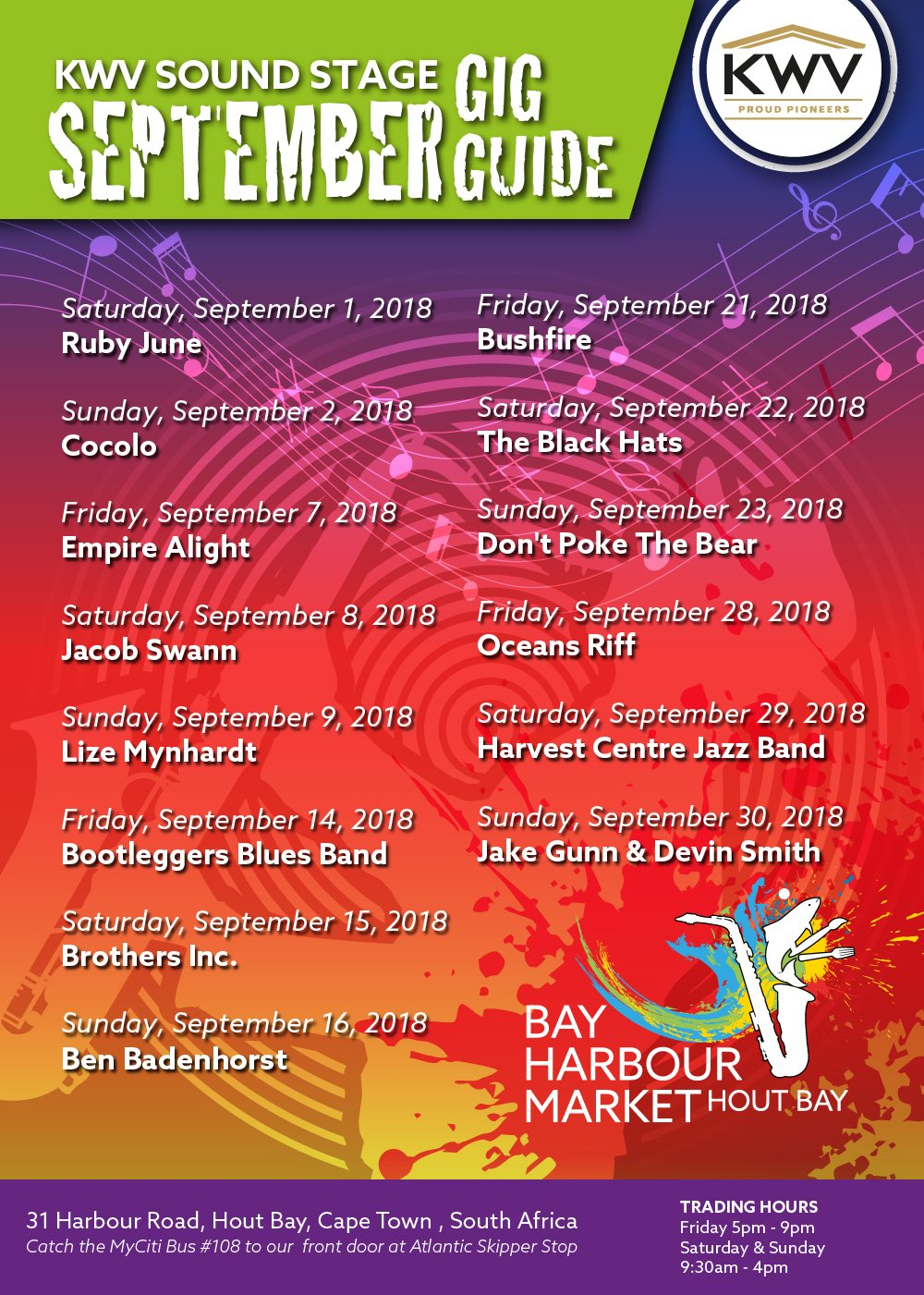 Hout Bay Harbour Market September Gig Guide