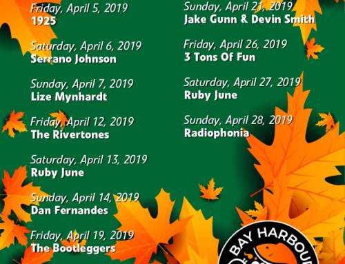 April 2019 Gig Guide at The Bay Harbour Market