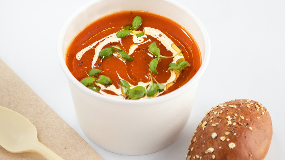Zoop Tomato Soups with utensils and roll