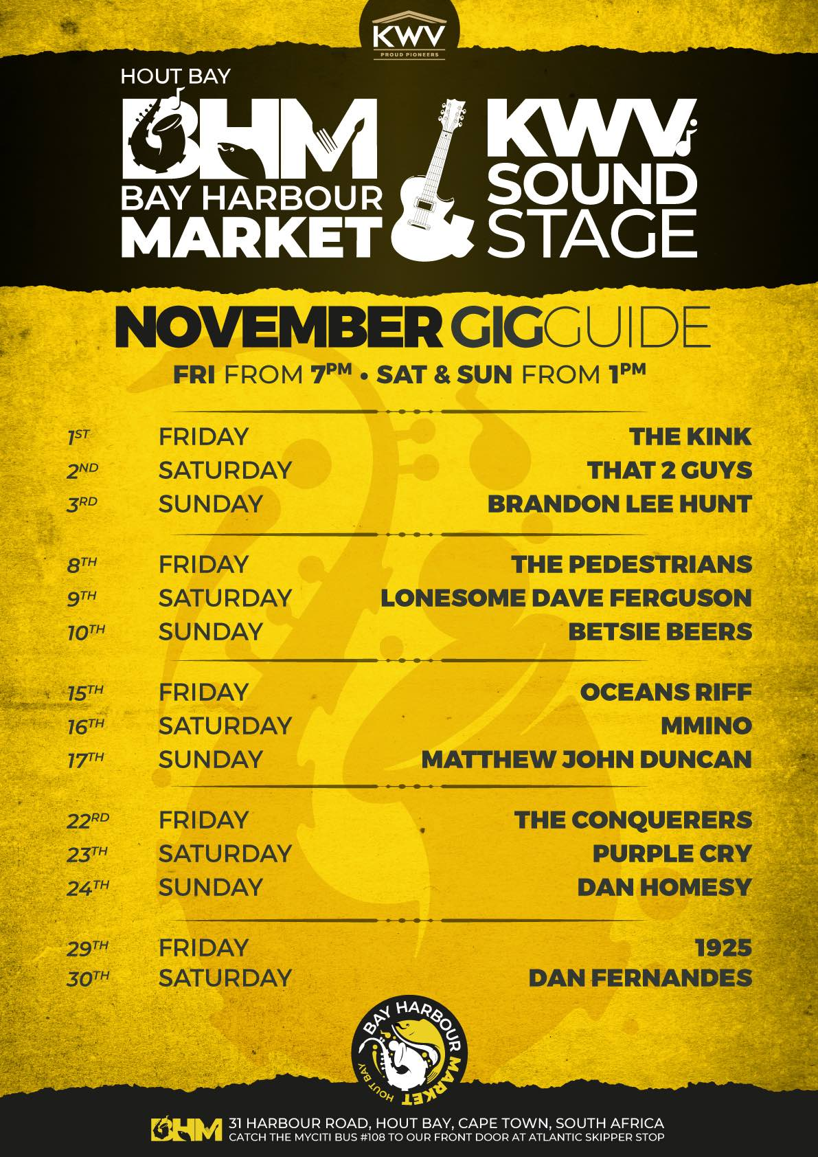 november gig guide at the bay harbour market in hout bay