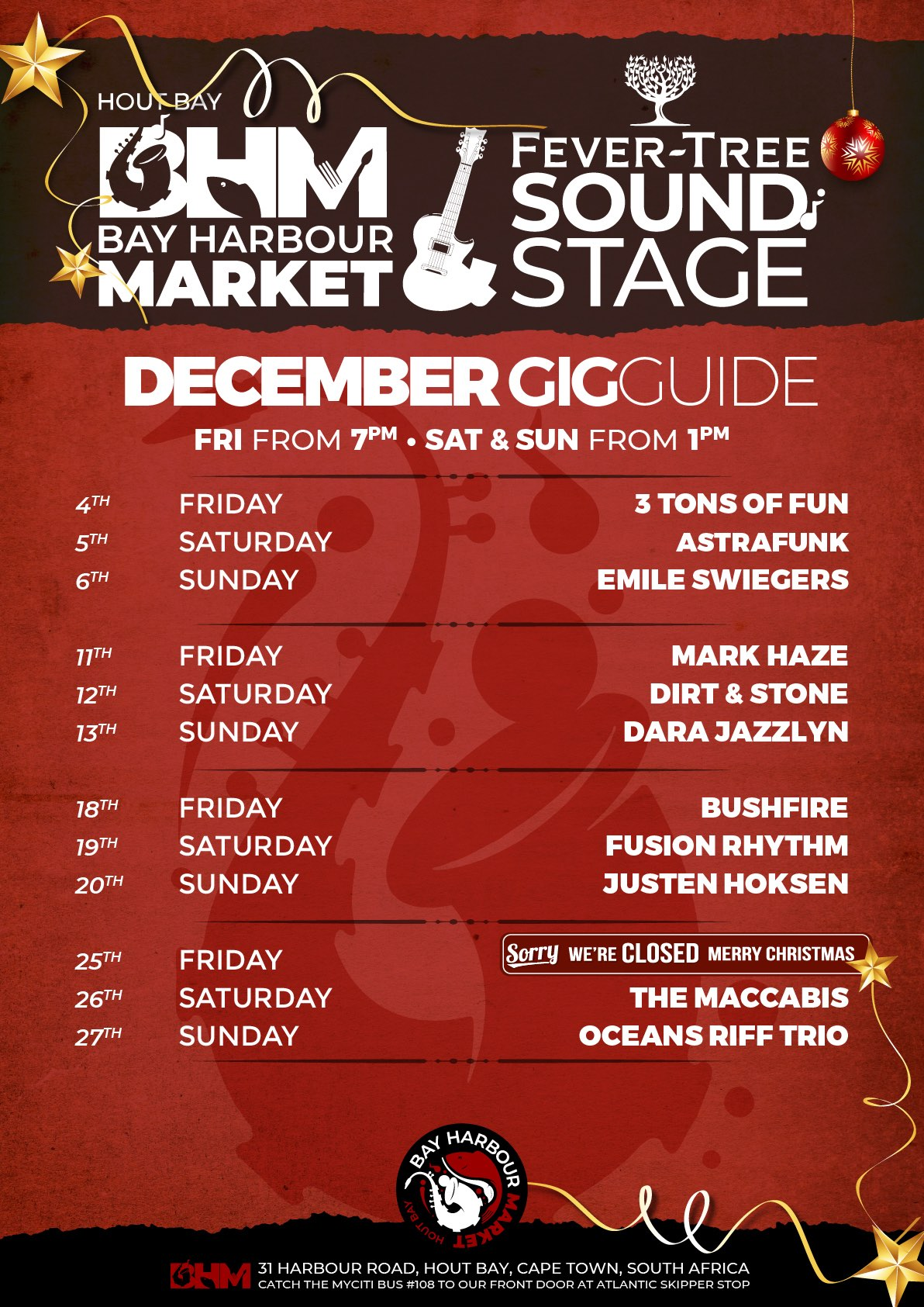 the bay harbour market gig guide December 2020