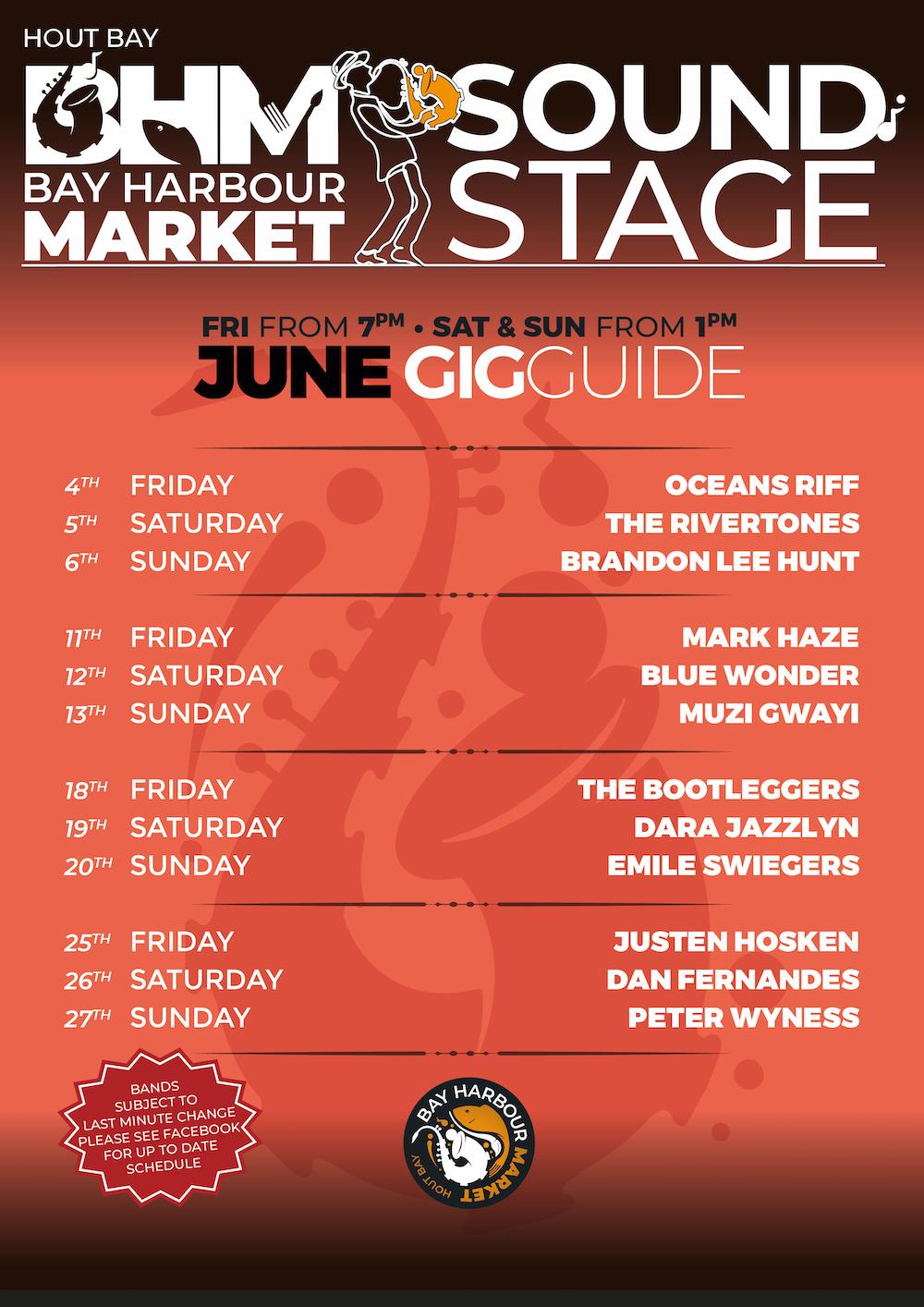 June gig guide at the bay harbour market